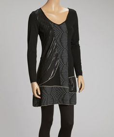 Another great find on #zulily! Black & Gray Abstract Color Block V-Neck Dress #zulilyfinds