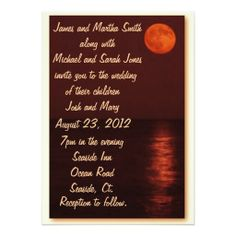 A beautiful harvest moon over the ocean creates beautiful and unusual stationary for your wedding.