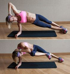 Try adding a Side Plank Crunch to your regimen for a great core boost. Start on your right elbow, your right foot slightly in front of your left. Keep your core tightened throughout the set. Pull the right knee in towards chest and crunch your left elbow toward it. Then bring back out to side plank position. #TrainingWithIntention #Exercise