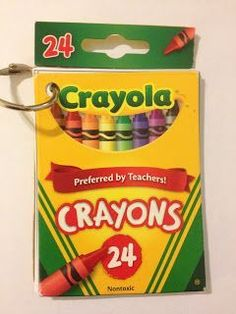 Recycle empty crayon boxes into color-words books.