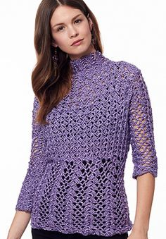 Victorian-inspired with lace variations and a high collar, this pullover will take you from work to the town in style. Shown in Patons Metallic. #crochet