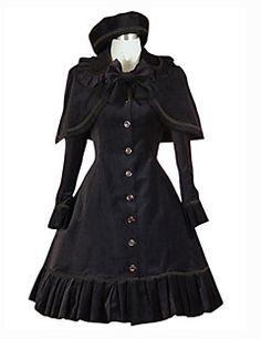 Langarm knielangen schwarzen Polyester Schule Lolita Kleid