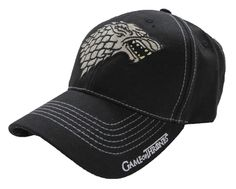 Make your loyalties heard with the Game of Thrones Stark Cap. The classy black cap features a dark brim along with the House Stark dire wolf sigil embroidered in the front in silver. Show your true colors with the dire wolf on the underside of the brim as well.