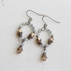 Silve Grey and Metallic Gold Czech Glass Beaded by YuniDesigns