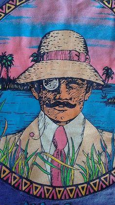 True Vintage 80s 90s Panama Jack Graphic Logo Purple Tropical Tshirt Mens Large #PanamaJack