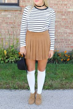 Suede & Stripes #fashion #style #fashionblog #styleblog #lifestyle #lifestyleblog #suede #skirt #stripes #choker #snooties #booties #kneehigh #overtheknee #overthekneesocks #fedora #blackfedora #blonde