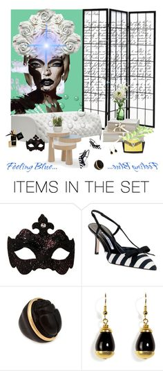 """Blue Night Shadow On Wall"" by lablanchenoire ❤ liked on Polyvore featuring art, green, coffee tables, plants, vases, masks, gold, perfumes, art collage and shoes"