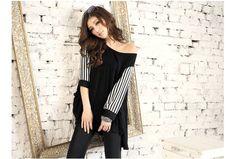 Half Stripy Sleeves Loose Shirt Black - BuyTrends.com