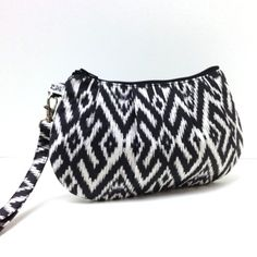 Clutch Purse Wristlet  Ikat in Charcoal Gray Black by LMcreation
