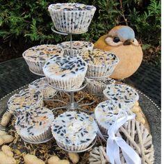 this makes me smile: suet cupcake etagère for the birds. Bird Feeder Plans, Diy Bird Feeder, Cupcakes, Diy For Kids, Crafts For Kids, Bird Suet, Bird Seed Ornaments, Homemade Bird Feeders, Bird Cakes