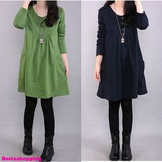 NEW Korean Fashion Womens Long Sleeve Loose Casual A-line Shirt Dress Pullover   eBay
