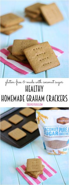 Healthy Homemade Graham Crackers Naturally vegan glutenfree and refinedsugar free made with madhavasweet Organic Coconut Sugar Vegan Sweets, Healthy Sweets, Vegan Desserts, Healthy Snacks, Health Desserts, Healthy Recipes, Gluten Free Snacks, Gluten Free Baking, Gluten Free Recipes