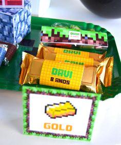 Rótulos barras de ouro Festa Minecraft | Design Festeiro