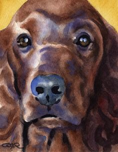 IRISH SETTER Dog Art Print Signed by Artist DJ by k9artgallery #DogsInArt Dogs In Art Puppy Dog Dogs Puppies