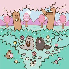 Pusheen : Pusheen's Easter Egg Hunt Easter Wallpaper, Kawaii Wallpaper, Pusheen Love, Pusheen Gif, Pusheen Cakes, Pusheen Stormy, Cute Kawaii Drawings, Hoppy Easter, Cute Cartoon