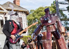 Hire steam punk puppet band for electrifying rock music. Our cosplay band performs sci-fi rock whilst dressed as puppets Steam Punk, Bradley Mountain, Rock Music, Puppets, Party Ideas, Entertainment, Cosplay, Band, Usa