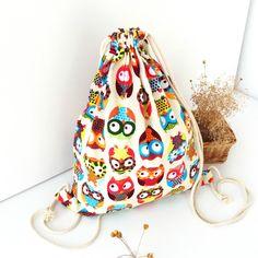 Cute Owl Canvas Backpack Children Travelling Bags School Original Colorful Printed Cloth Bag Fashion Rucksack Beach Backpacks