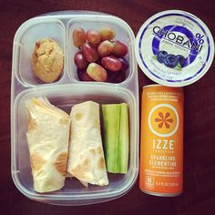 Turkey and cheese wrap & a sliced cucumber. Fresh grapes. Homemade pumpkin cookie (that a sweet friend made for me). Chobani yogurt. Izze. via @cleaneatingallergyfree - Instagram