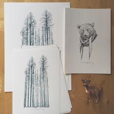 ...en la foto no se nota pero el bosque es de color azul y me encanta...más prints nuevos en la web y recuerdo que este domingo será el último día de envío de prints para que puedan llegar a tiempo a las navidades... www.lauraagusti.bigcartel.com