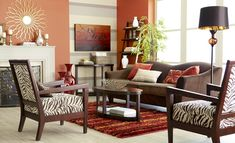Pier 1 living room with the Abbie Sofa in Chocolate and Blayne Armchairs in Zebra