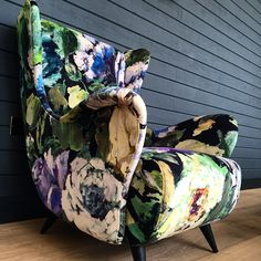 Add life to a chair with our Bloomsbury rose velvet fabric
