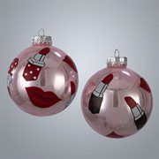 Fashion Avenue Lipstick Pink Glass Ball Christmas Ornaments