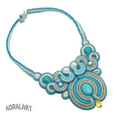 soutache necklace turquoise and pearls. $108.00, via Etsy.