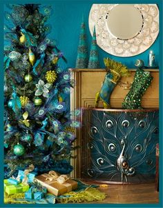 peacock bedding - peacock home decor - peacock theme decor - Peacock Decorations - Peacock Nursery - peacock wall decoration - peacock colors - peacock color decor - peacock wallpaper - Peacock curtains - life size peacock decorations - Peacock feathers - Peacock Christmas Tree, Teal Christmas, Bohemian Christmas, Christmas Themes, All Things Christmas, Merry Christmas, Christmas Holidays, Holiday Decor, Winter Holiday