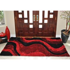 EverRouge 3D Poly Silk Red Area Rug (8'x10') | Overstock.com Shopping - The Best Deals on 7x9 - 10x14 Rugs