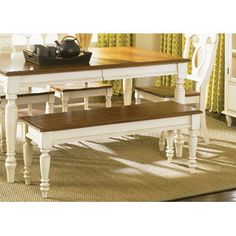 Liberty Furniture Wood Kitchen Bench - Color: Linen Sand with Suntan Bronze