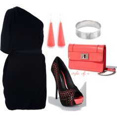 Black and Coral Cutout Pumps, created by styleofe.polyvore.com