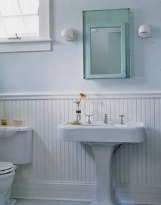 Bathroom Sconces Vintage wallpaper in the bathroom screams vintage chic, while sanding down