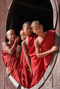 Novice monks at Inle Lake
