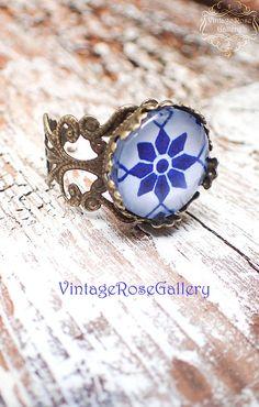 Hydra Ring,  #VintageRoseGallery, #etsy, Blue Boho Ring, Hippie Bohemian  Ring , Mediterranean Boho Ring, Blue Ceramic Bronze Ring