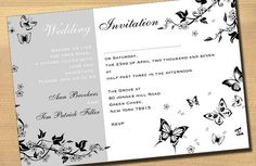 Black and White Butterfly Wedding Invitation Ideas
