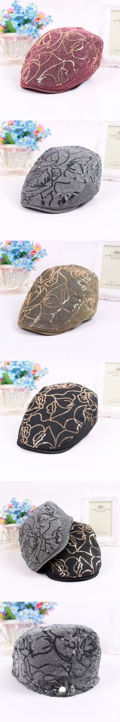 Spring Fashion Womens Embroidery Sequin Patchwork Newsboy Hat Beret Hip Hop Dancing Cap Street Style Caps Hats $11.08