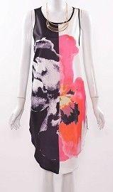 Contrasting Floral Print Shift Dress #shopsylk#sylkstores#floral#print#spring#dress