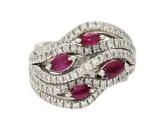 Jewelry Ring, 18K white gold, marquise cut rubies, brilliant cut diamonds. Item no: 1027859 - Kaplans Auktioner