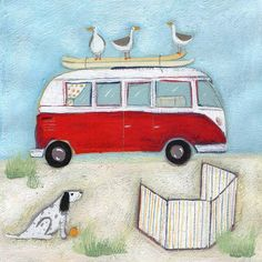 Louise Rawlings - VW on the beach official site - http://www.louise-rawlings-art.co.uk/