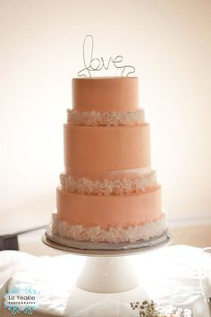 Shabby Chic Peach Wedding Cake by Confection Perfection (Liz Yeakle Photography)