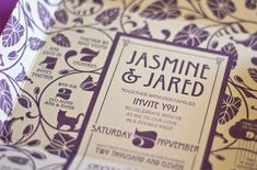Self-Mailing Art Nouveau Wedding Invitations