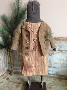 OAK Primitive Standing Doll by VillagePrimitivesbyM on Etsy