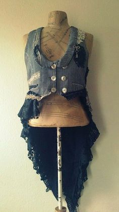 recycled fashion-ethical design-vintage fabrics-bohemian clothing - Waistcoat/Jackets