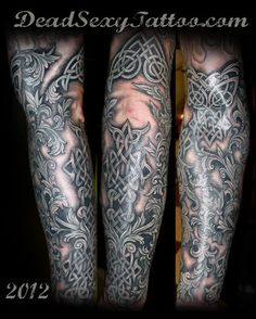 16d4be315 Celtic Filagree sleeve by Lucky Monkey Tattoo's Amanda Snyder. - Yelp Knot  Tattoo, Celtic