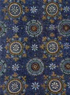 Blue Byzantine mosaic representing the night...