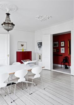 A Danish home with red accents