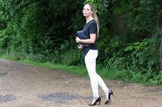 anna lou elliott | 05.06.14 wearing #AndOtherStories black scuba top, #Zara white skinny jeans and #PhillipLim navy #31minute clutch #todayimwearing #ootd