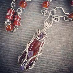 Mystical Carnelian  https://instagram.com/p/2ay5b9Gwfe/?taken-by=kateryna_chernenko #WireGalaxy #wire #wrapped #jewerly #choker ##Carnelian #wirewrap #red#pendants #fantasy #Necklaces #tribal