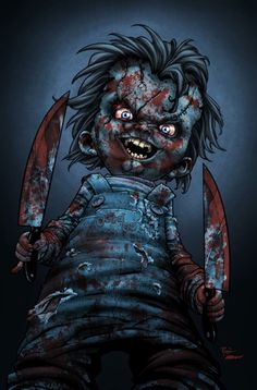 Chucky's Baaaaaack by titaniumgorilla on DeviantArt two bloody knives, , creepy doll monster comes to life murder's Chucky Movies, Horror Movie Costumes, Horror Movie Characters, Best Horror Movies, Scary Movies, Awesome Movies, Horror Villains, Chucky Movies, Arte Black, Slasher Movies