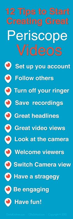 Here's 12 ways to Start Creating Great Periscope Videos. Click to get the details to start creating your own Periscope broadcast today! #Periscope #socialmedia